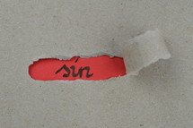 ripped open paper with the word SIN