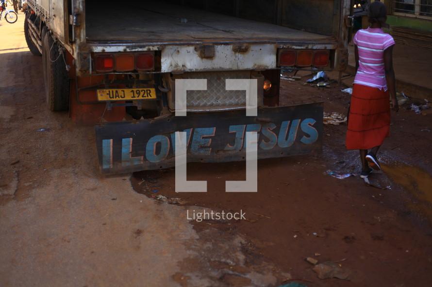 I LOVE JESUS written on the back of a truck