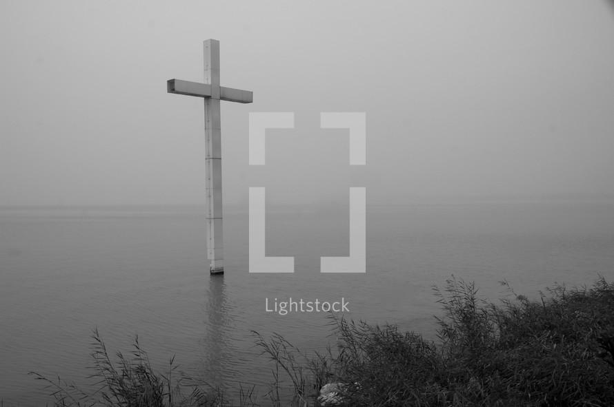 cross in a lake