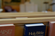 A Bible in the back of a pew