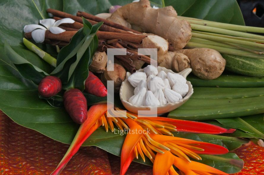 tropical display of edible roots  at a local ethnic market
