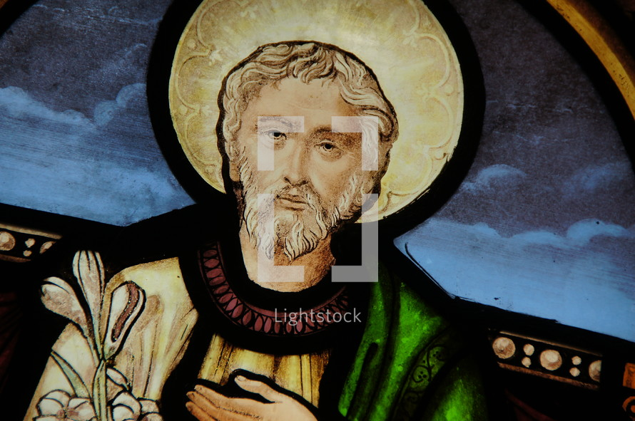 Church Stained Glass Window of Joseph.