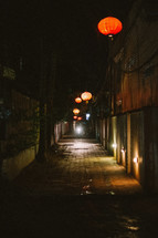 paper lanterns along a street in Cambodia