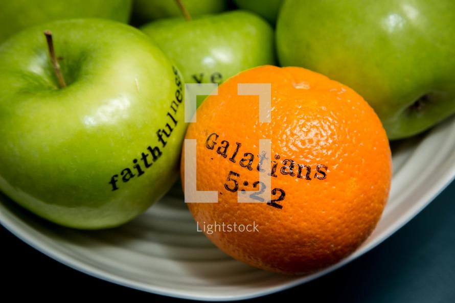 fruit of the spirit, Galatians 5:22, peace, kindness, self-control, apples, orange, green apples