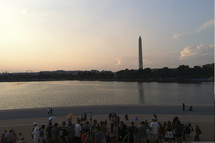 tourists gathered to view the Washington monument