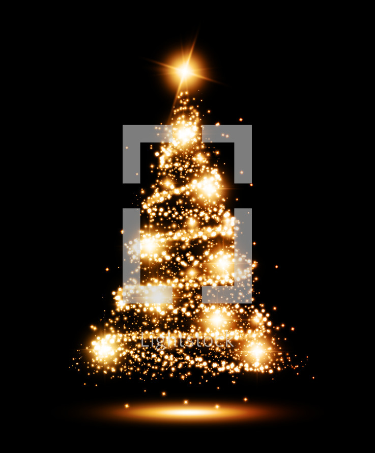 Twinkling Lights On A Christmas Tree Against A...