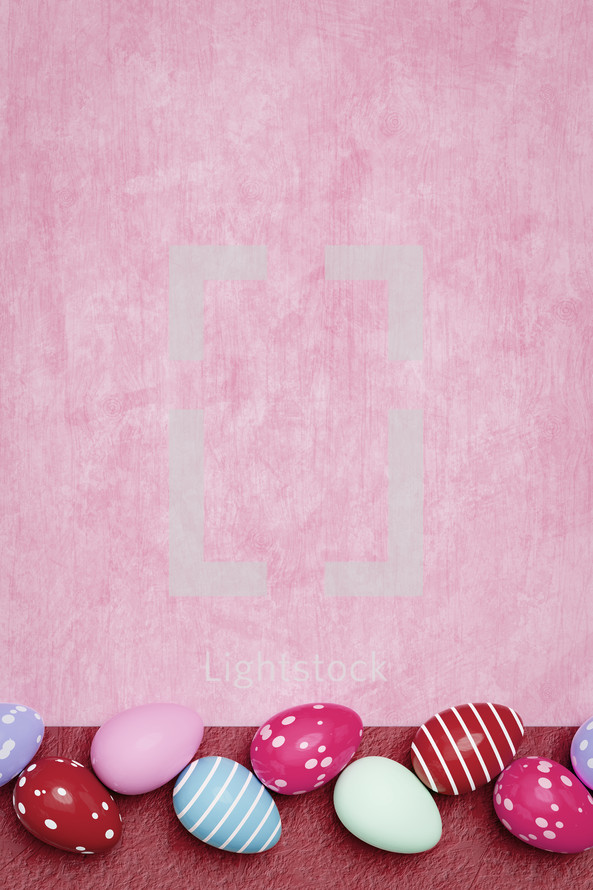 Easter egg border on red and pink
