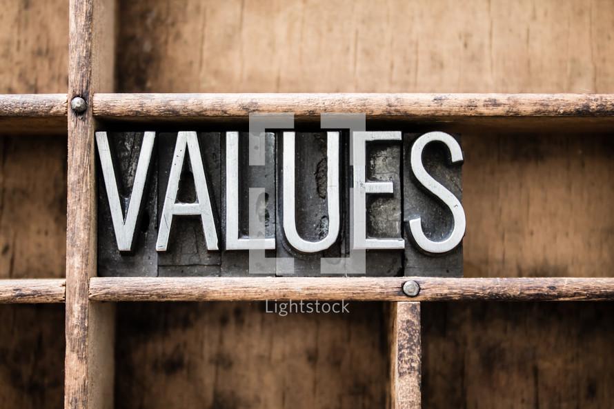 word values in blocks on a bookshelf