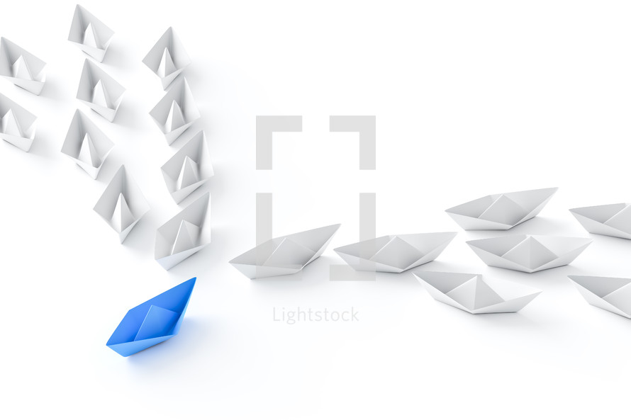 paper boats, leadership concept