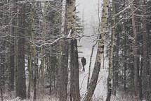 a lone man walks through the wintery forest