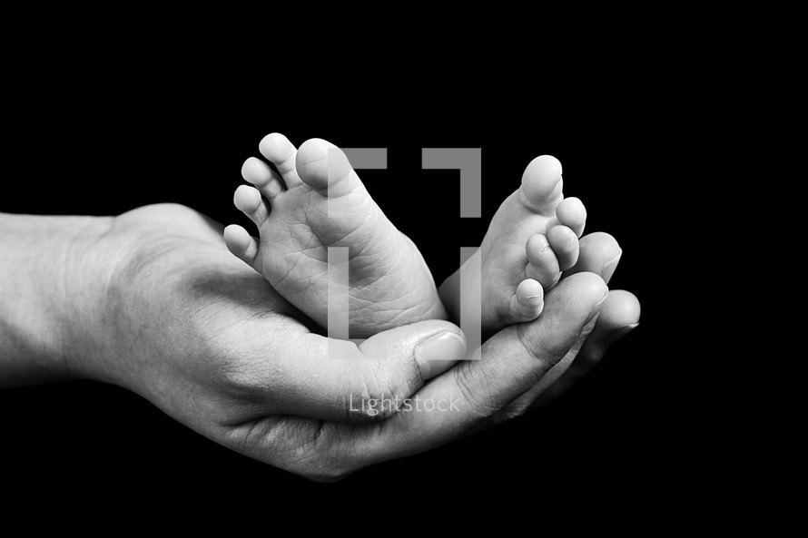 a mother's hand holding infant feet