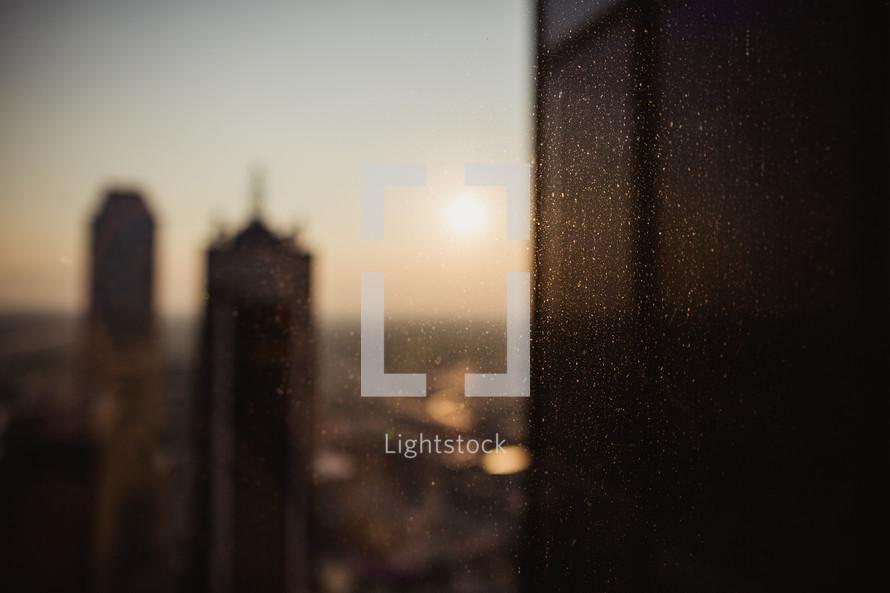 City skyline at dusk.
