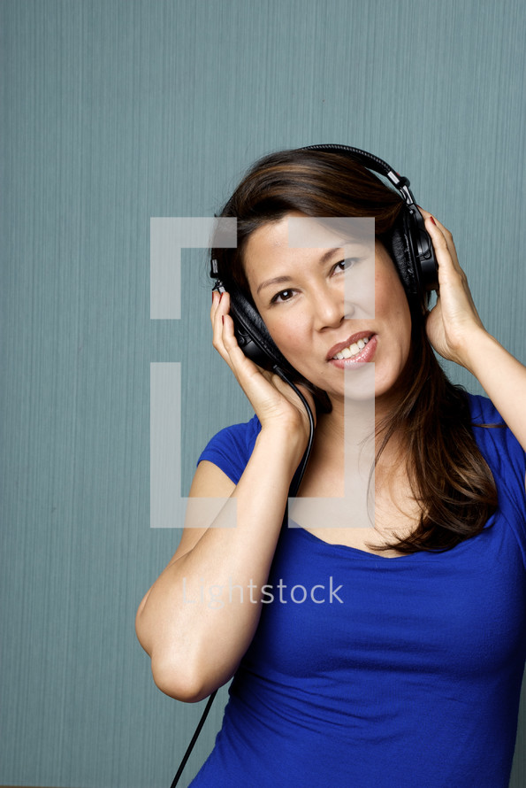 woman and headphones