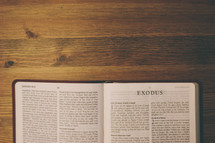 Bible on a wooden table open to the book of Exodus.