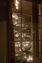 A Christmas tree in a window