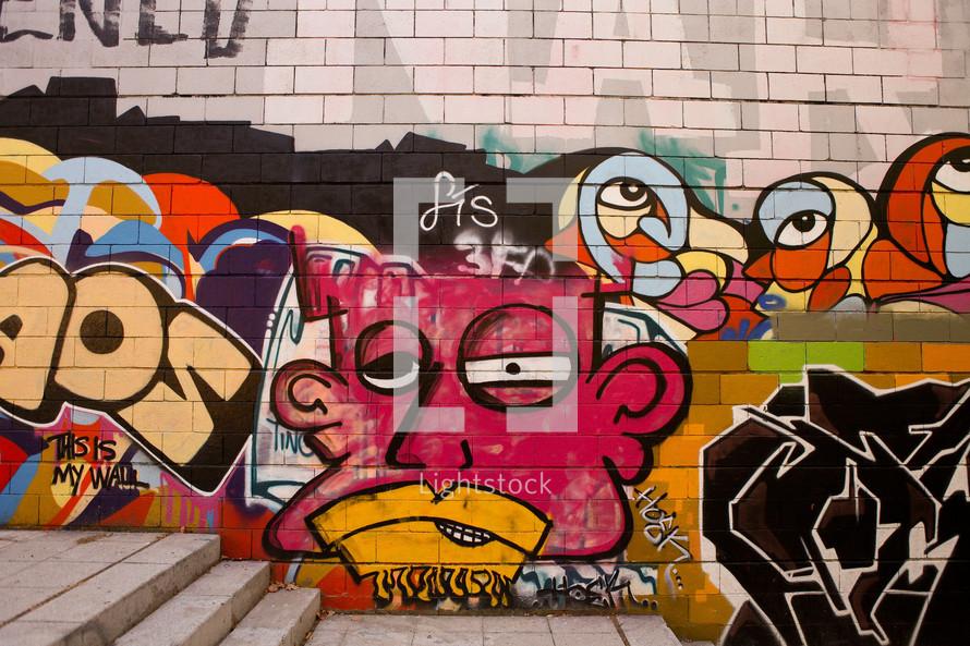 Graffiti on a brick wall