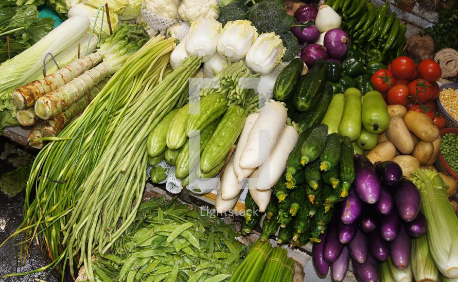 Vegetables being sold at market