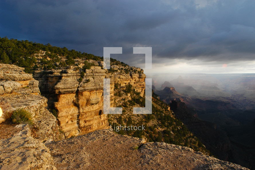 Grand Canyon storm clouds at dawn
