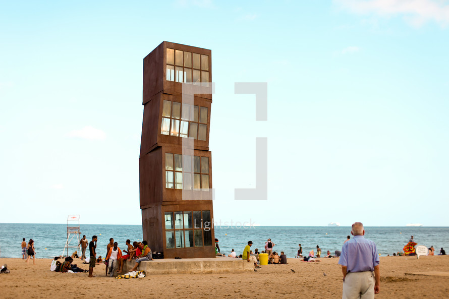 """Homentage a la Barceloneta"" designed by Rebecca Horn, is planted firmly in the middle of the beach."