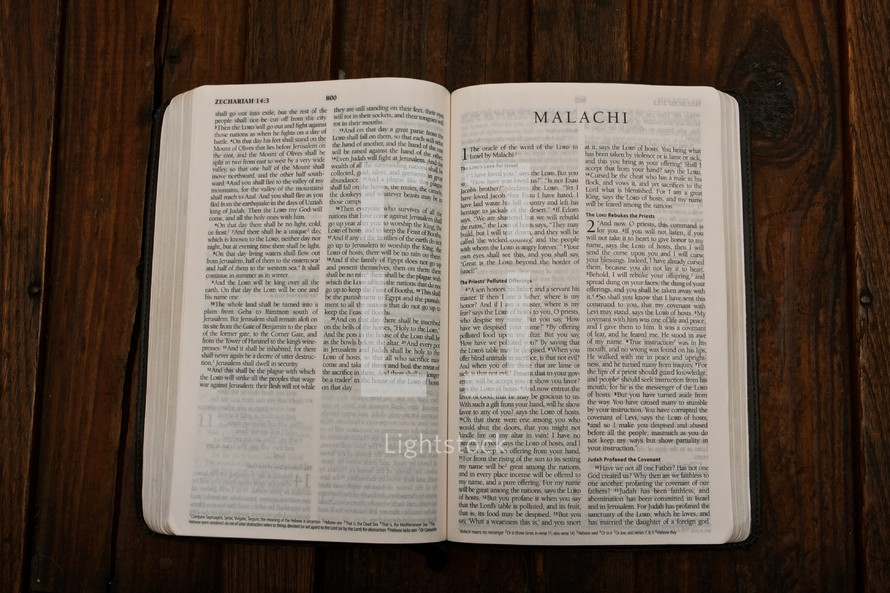 The Bible opened to Malachi