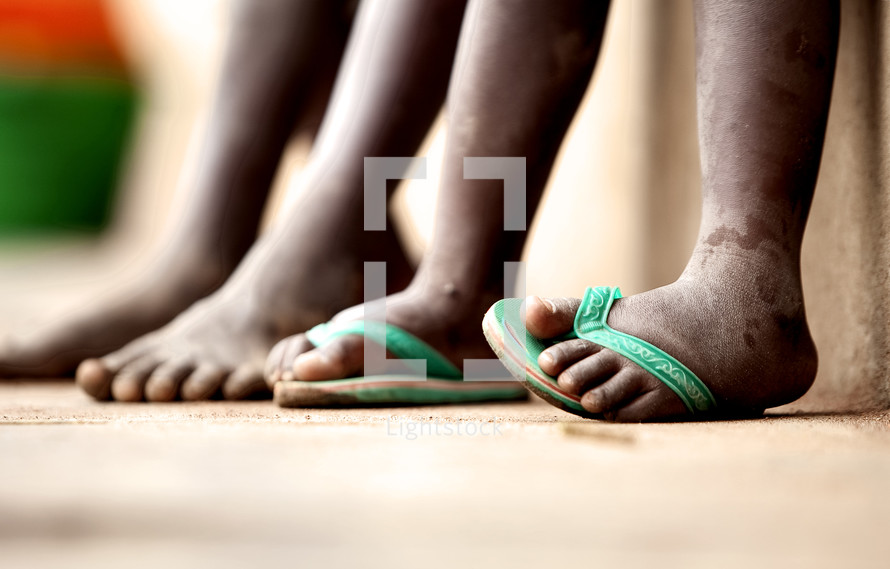 the feet of children
