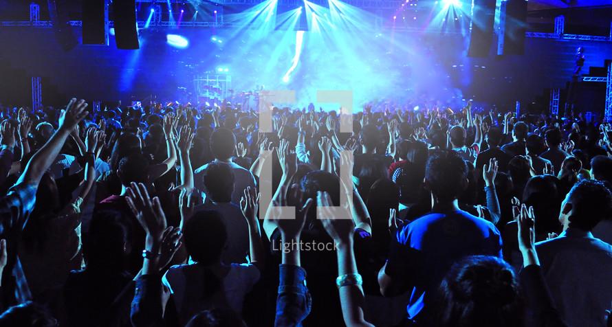 Worship concert crowd