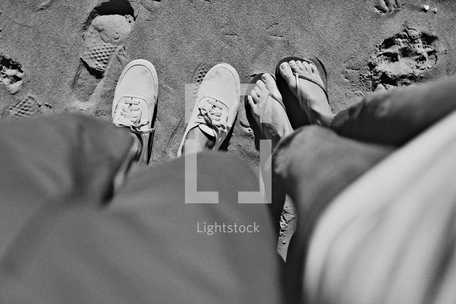 wearing shoes in the sand