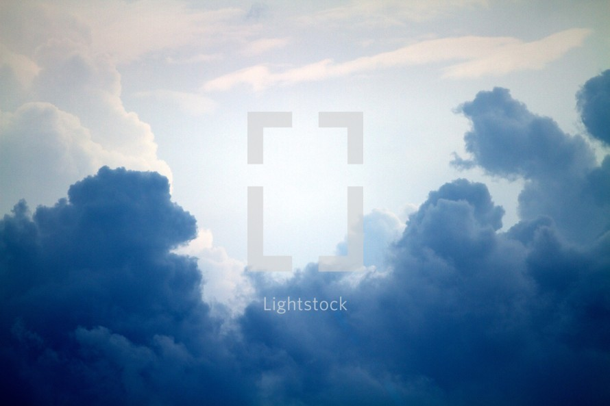 Billowing dark blue clouds