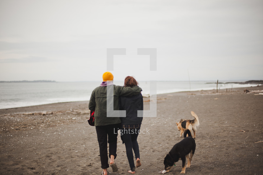 A couple walking on the beach with their dogs