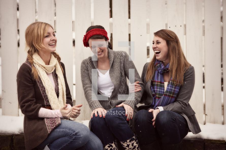 teen girls giggling