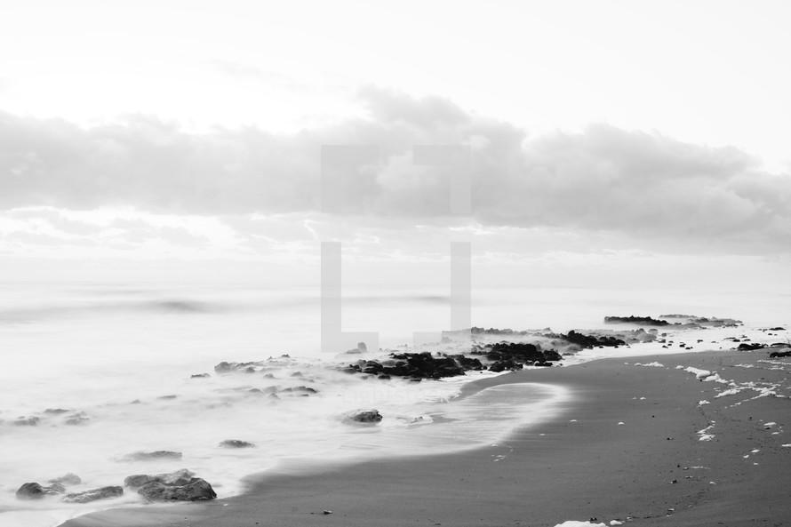 Cloudy ocean shore