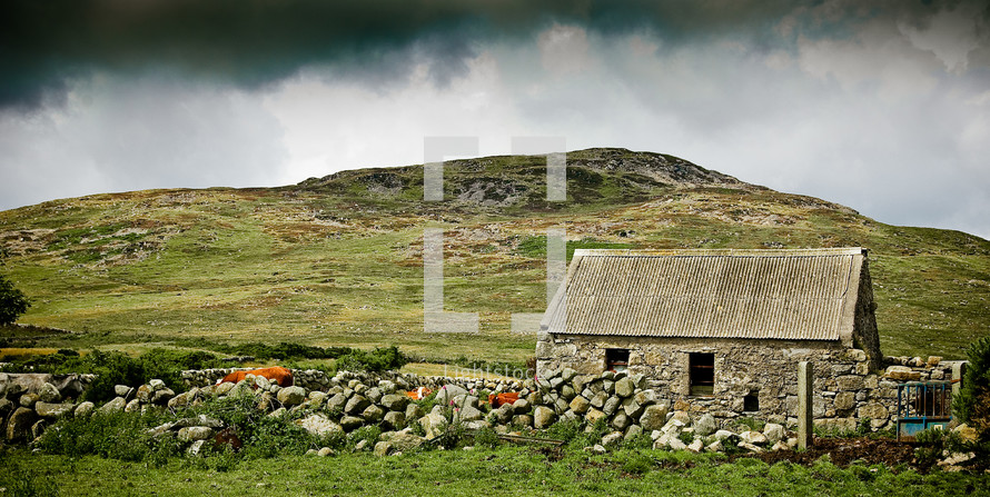 small stone farm house