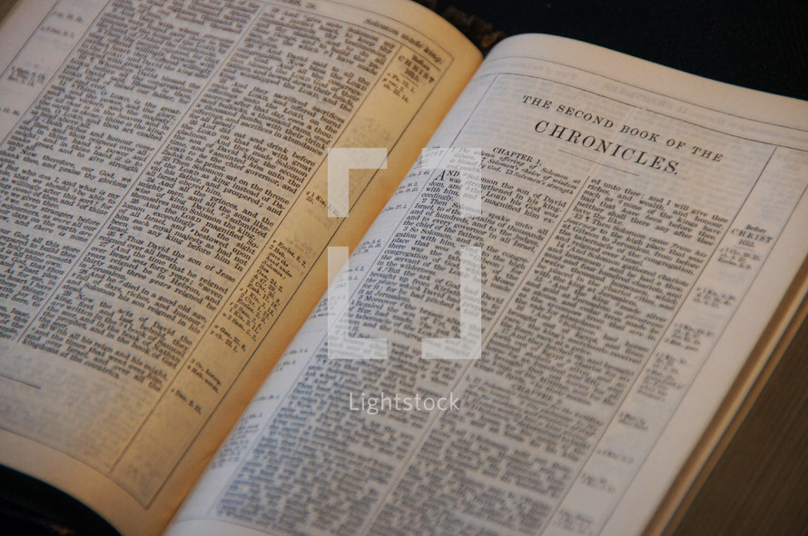 Open Bible in the book of II Chronicles