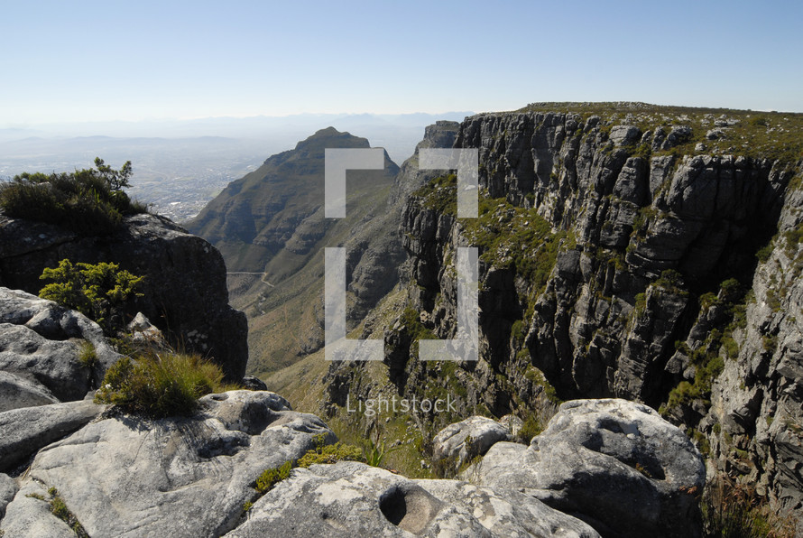 Green mountain cliff