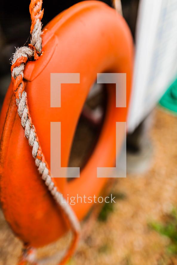 Life preserver orange rope