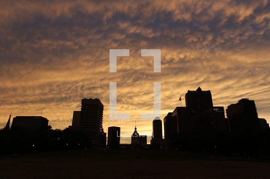 Night city skyline silhouette