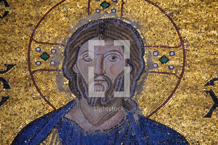 A golden Mosaic of Jesus Christ in Hagia Sofia Church, Istanbul