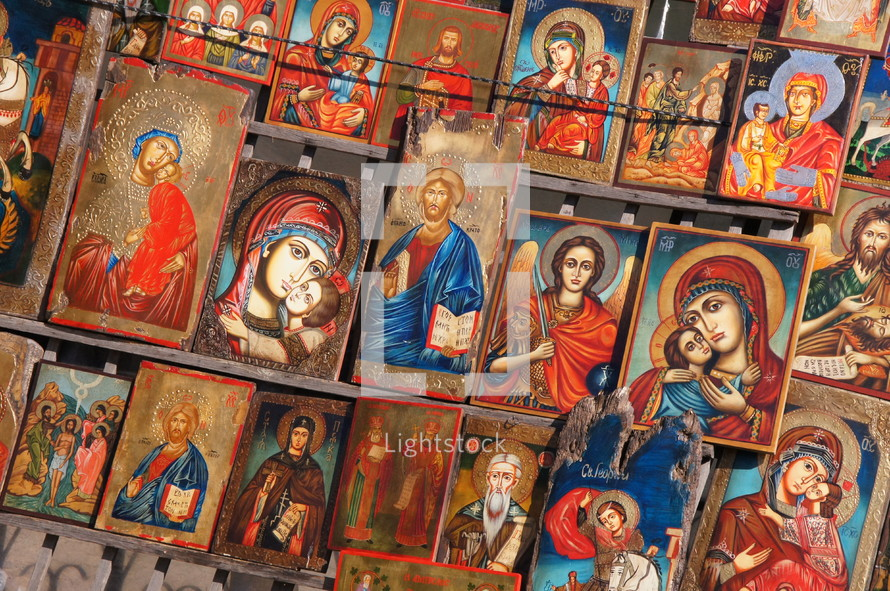 Painted icons of Jesus Christ, Mary the mother of Christ and some local saints