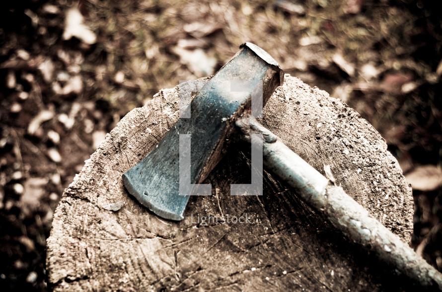 ax on a tree stump