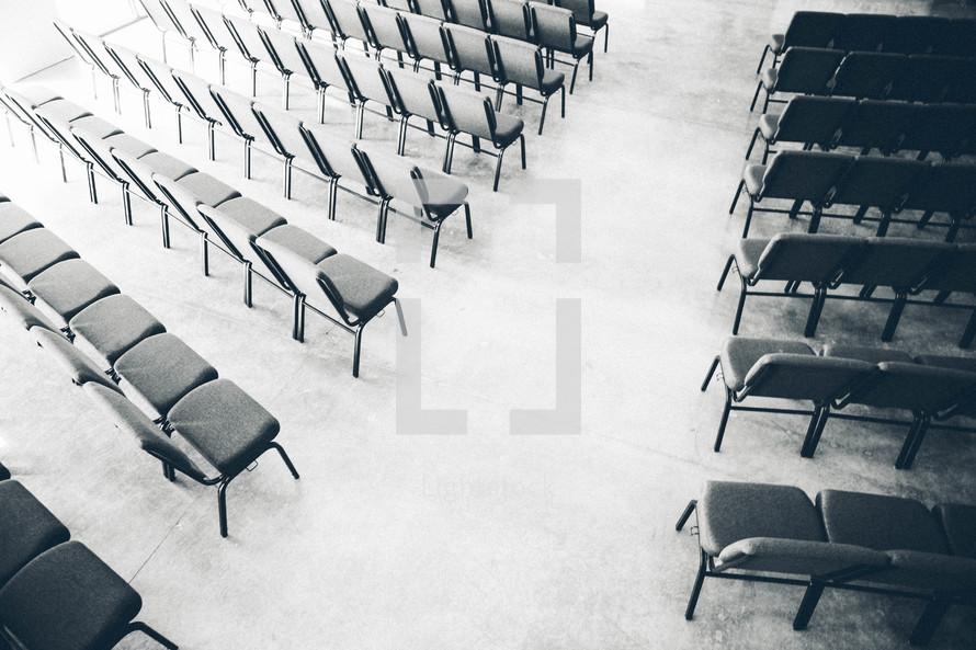 Church chairs and aisle