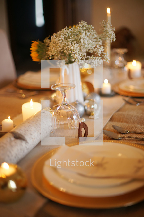 Place setting for Christmas dinner