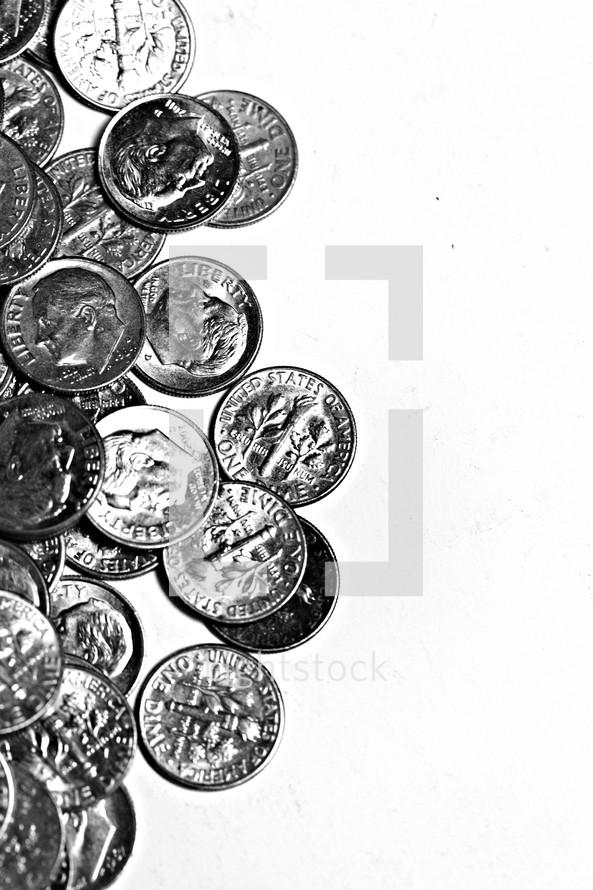 A pile of dimes