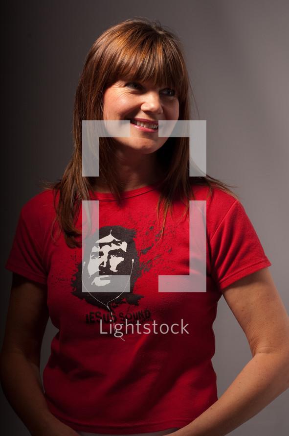 woman wearing a Jesus Sound t-shirt