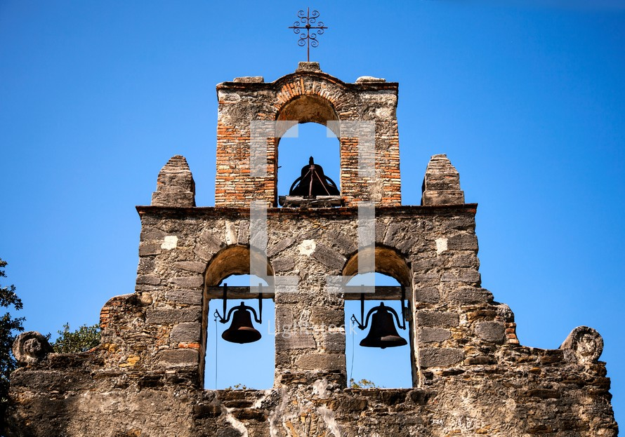 bells in ruins of an old bell tower