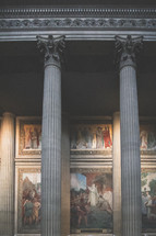 artwork and columns in the Pantheon in Paris