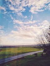 rural road under a blue sky