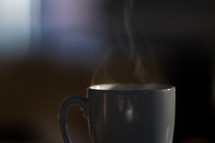 steam from a coffee cup