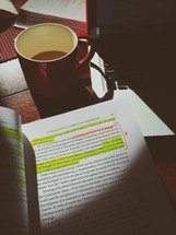 highlighted book, coffee mug, and laptop