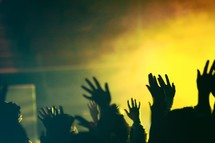 Silhouette of an audience with raised hands.