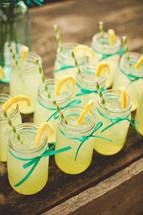 lemonade in glasses with straws